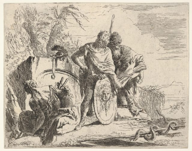 Three figures and a snake coiled around a staff, surrounded by a landscape, the central figure rests his left hand on a shield and leans toward a bearded figure holding a book, from the series 'The Capricci'