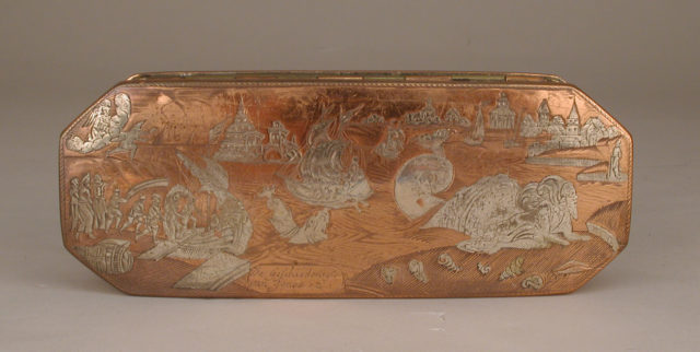 Tobacco box with scenes from life of Jonah
