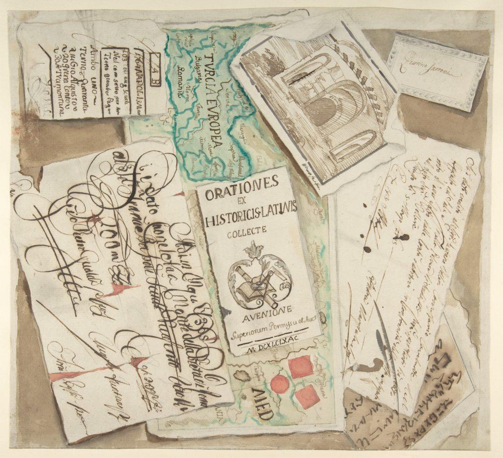 Trompe l'Oeil Design Including Bills, Calling Cards, an Etching, a Map etc.