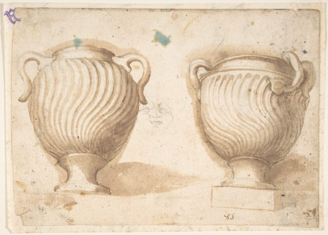 Two Antique Vases with Strigil Decorations