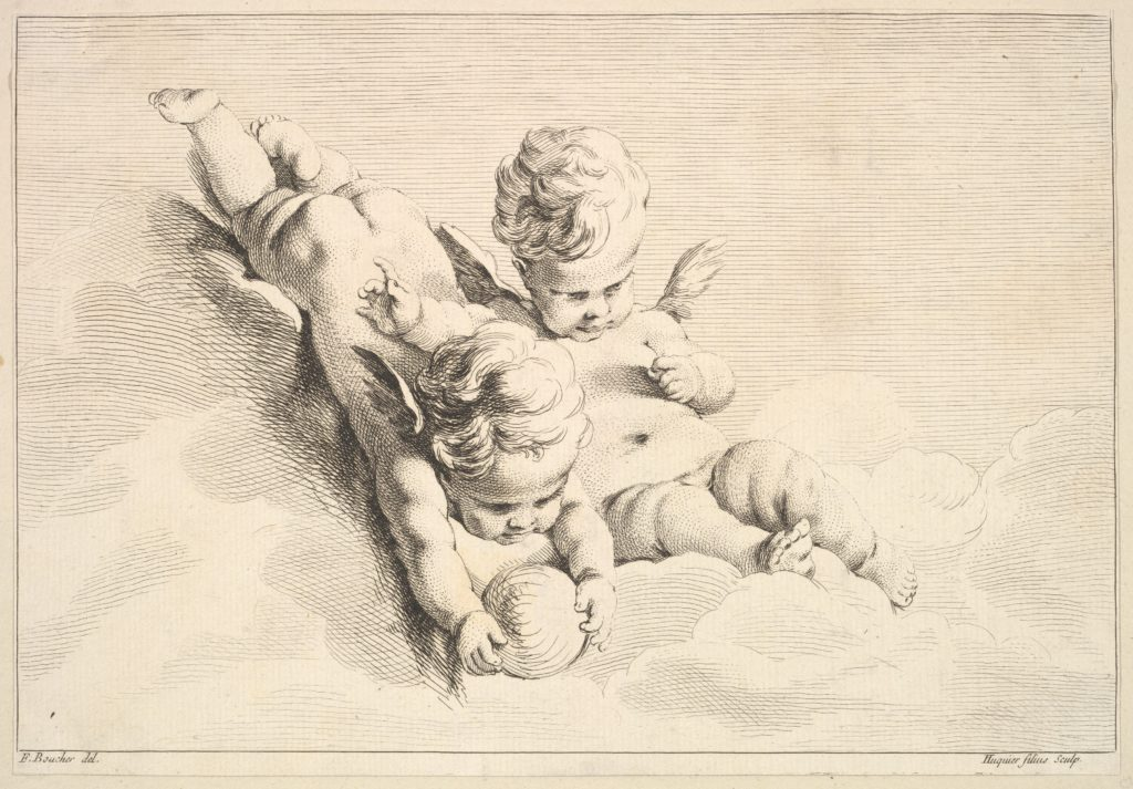 Two Cupids, One Holding a Ball