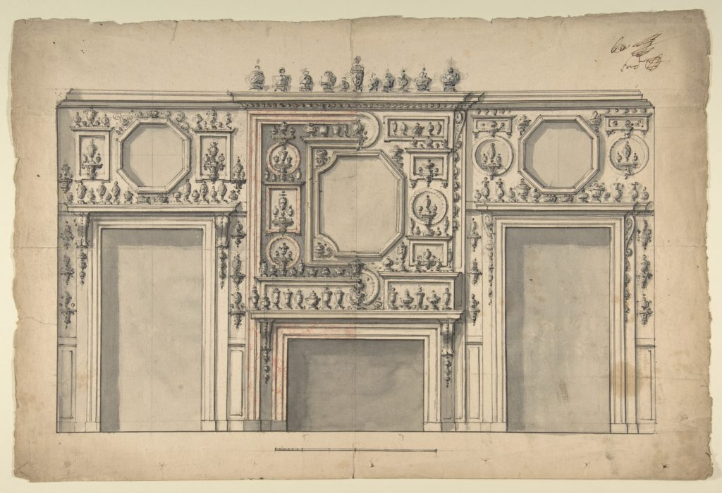 Two Variant Designs for the Interior of a Room, Decorated with Porcelains, Fireplace in Center, and With the Doorways at Either Side