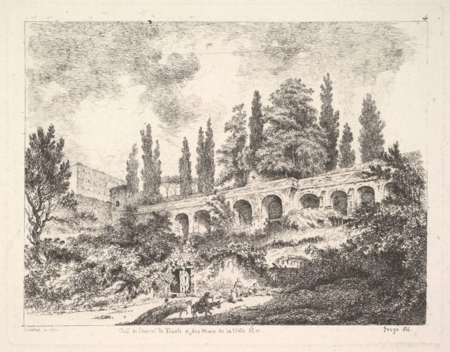 View of the entrance to Tivoli and the walls of the Villa d'Este, horsemen approaching the entrance at bottom center, arched entrance in the middleground, cyrus trees and other plants surrounding