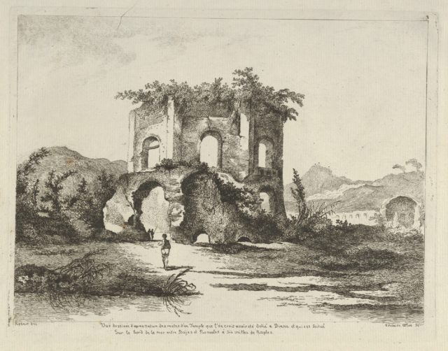 Vue d'un temple... dédié à Diane from Differentes vues dessiné d'après nature... dans les environs de Rome et de Naples