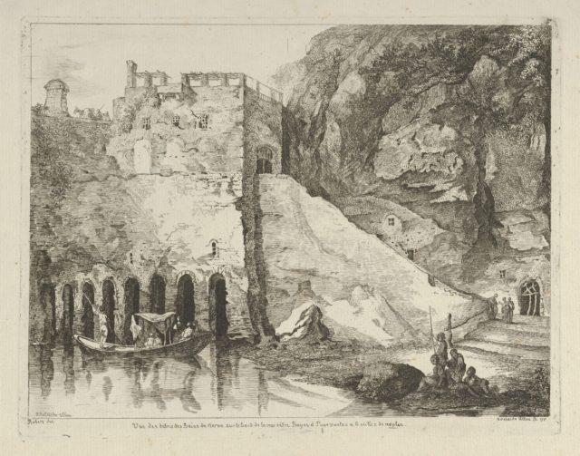 Vue des debris des bains de Neron from Differentes vues dessiné d'après nature... dans les environs de Rome et de Naples