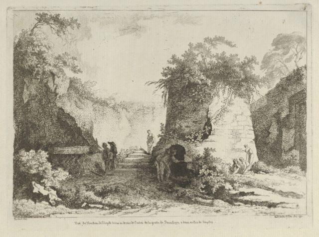 Vue du Tombeau de Virgile from Differentes vues dessiné d'après nature... dans les environs de Rome et de Naples