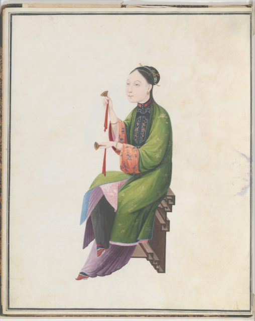 Watercolor of musician playing bo