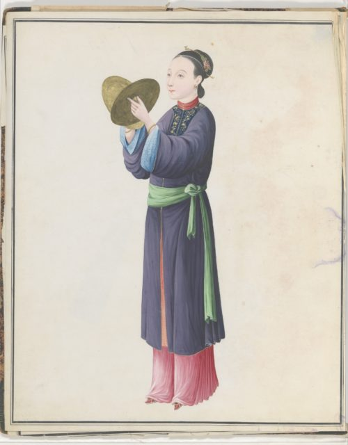 Watercolor of musician playing bo (tongbo)