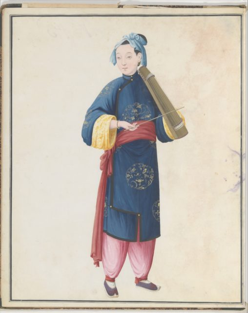 Watercolor of musician playing bowed qin(?)