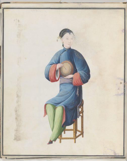Watercolor of musician playing diangu