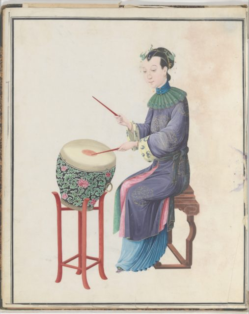 Watercolor of musician playing drum