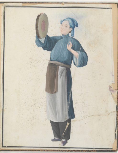 Watercolor of musician playing frame drum