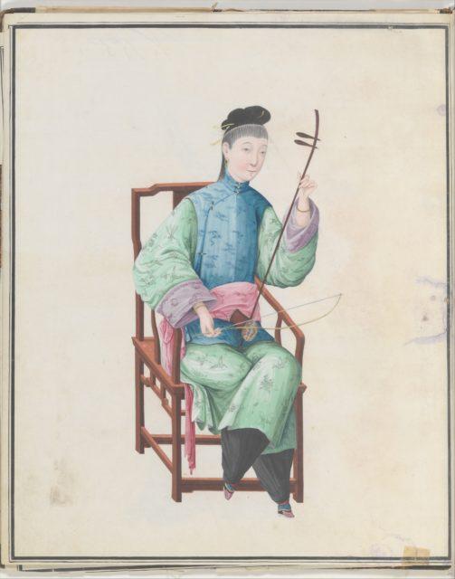 Watercolor of musician playing gaohu(?)