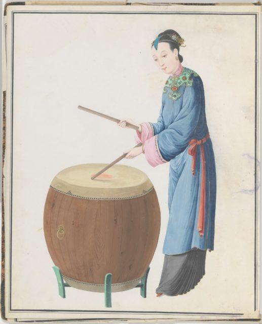 Watercolor of musician playing jingu