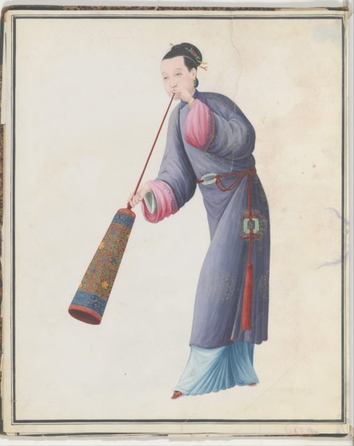 Watercolor of musician playing laba