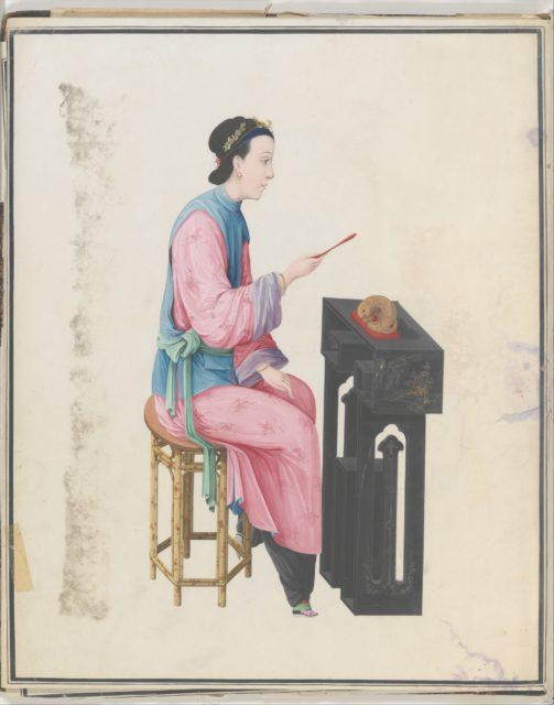 Watercolor of musician playing mu yu