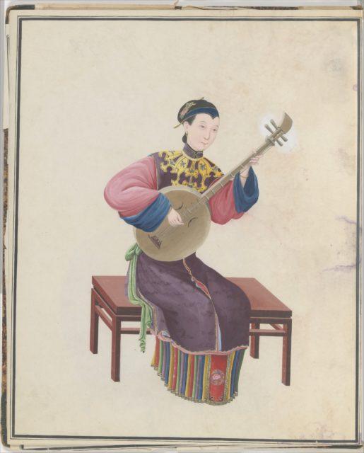Watercolor of musician playing ruan(?)