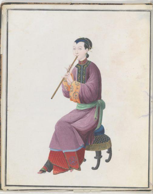 Watercolor of musician playing xiao