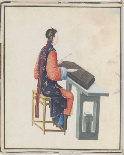 Watercolor of musician playing yangqin
