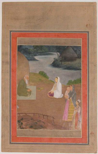 """Women Visiting a Hermit"", Folio from the Davis Album"