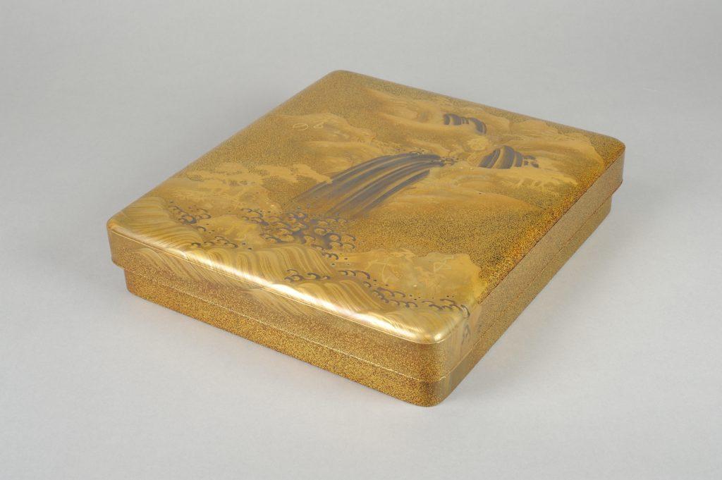Writing Box (suzuribako) with Waterfall and Auspicious Characters