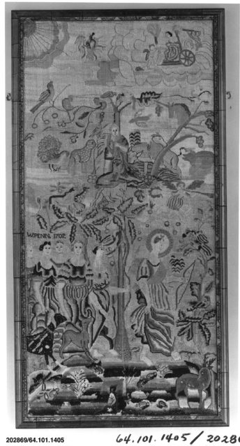 Embroidered picture with mythological scenes