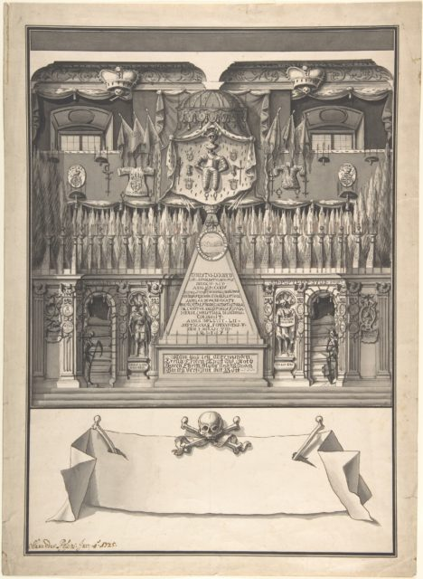 Memorial Decoration for the Interior of a Building to Honor the Deceased Ernst Ludwig, 1725