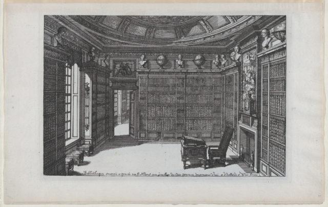 Interior of a Library, from Nouveaux Liure da Partements, part of Œuvres du Sr. D. Marot