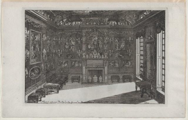 Interior of a Porcelain Cabinet with Paintings and Vases, from Nouveaux Liure da Partements, part of Œuvres du Sr. D. Marot