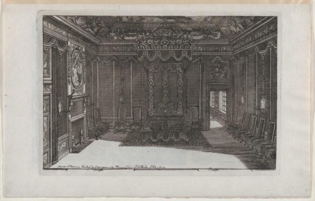Interior with a Canopy Bed and a Row of Chairs Lining the Walls, from Nouveaux Liure da Partements, part of Œuvres du Sr. D. Marot
