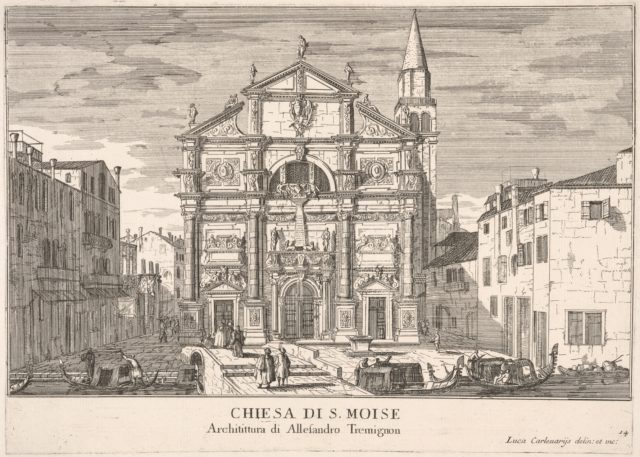 Plate 14: View of the facade of St. Moses church, Venice, 1703, from the series 'The buildings and views of Venice' (Le fabriche e vedute di Venezia)