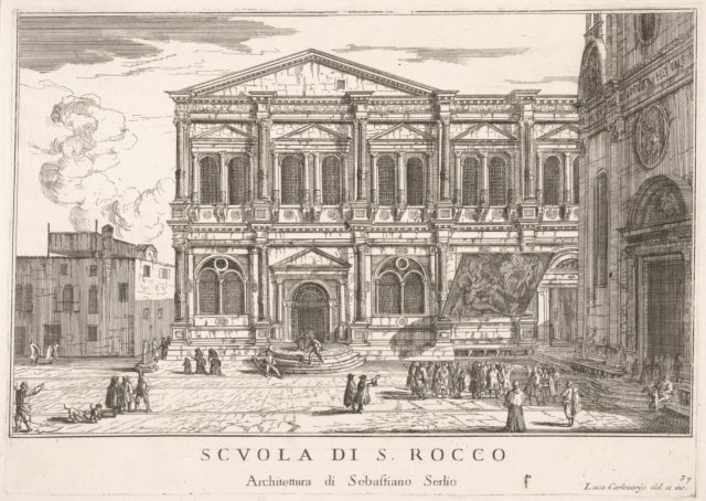 Plate 37: Side view of the school of St. Roch at left and view of facade of the church of St. Roch, Venice, 1703 from the series 'The buildings and views of Venice' (Le fabriche e vedute di Venezia)