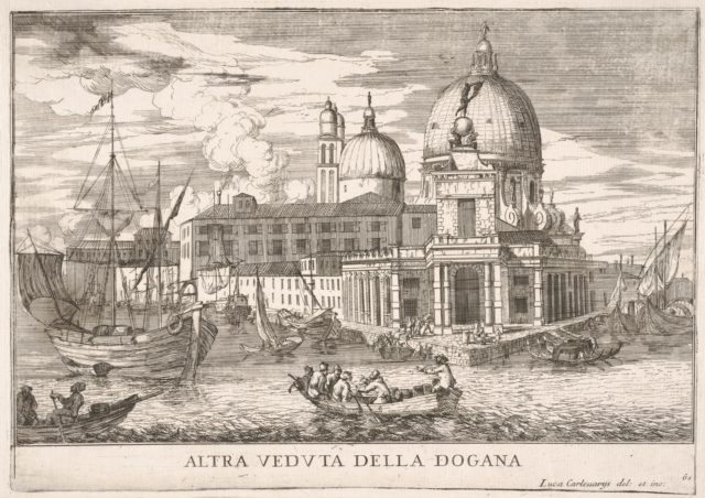Plate 61: View of the customs house (Dogana da Mar) at the confluence of the Grand Canal and Giudecca Canal, Venice, 1703, from the series 'The buildings and views of Venice' (Le fabriche e vedute di Venezia)