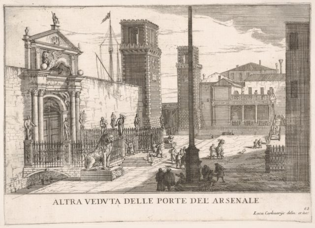 Plate 63: View of the gate of the shipyard and armory complex (Arsenale), Venice, 1703, from the series 'The buildings and views of Venice' (Le fabriche e vedute di Venezia)