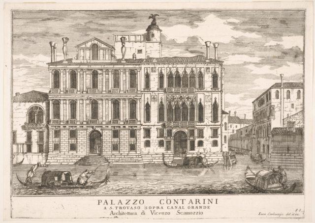 Plate 85: View of the Contarini Palace in Campo San Trovaso, Venice, 1703, from the series 'The buildings and views of Venice' (Le fabriche e vedute di Venezia)