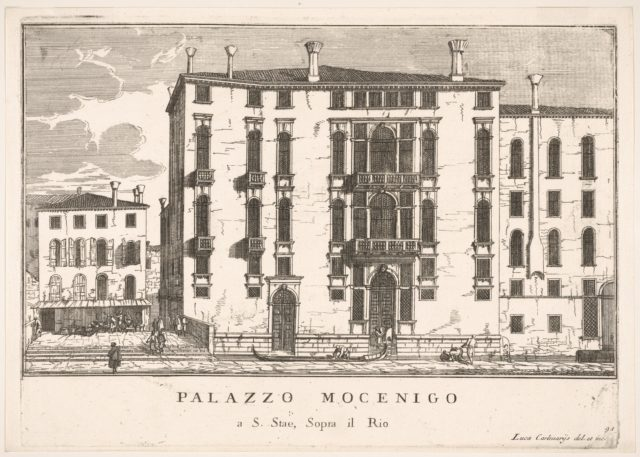 Plate 91: View of the Mocenigo Palace in Campo San Stae, Venice, 1703, from the series 'The buildings and views of Venice' (Le fabriche e vedute di Venezia)