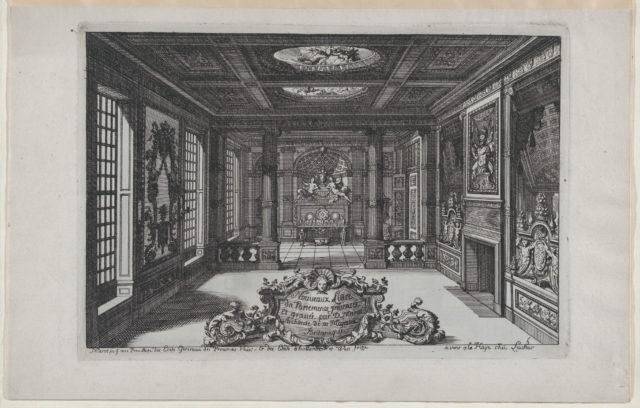 Title Plate with a Cartouche Set in a Lavish Interior, from Nouveaux Liure da Partements, part of Œuvres du Sr. D. Marot