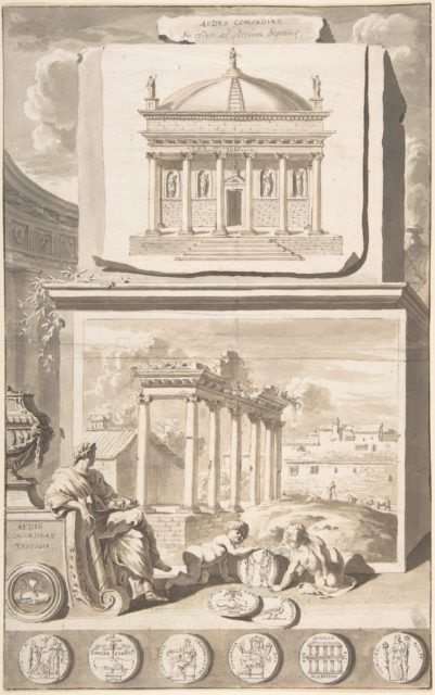 A Reconstruction of the Aedes Concordiae (above) and a View of the Ruins (below)