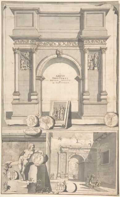 A Reconstruction of the Arch of Domitian (above) and View the Ruins (below)