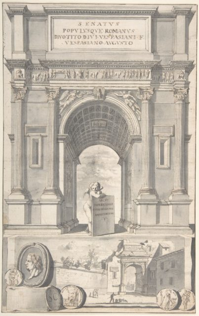 A Reconstruction of the Arch of Titus (above) and a View of the Ruins (below)