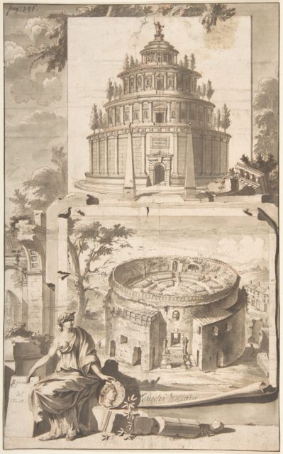 A Reconstruction of the Mausoleum of Augustus (above) and a View of the Ruins (below)