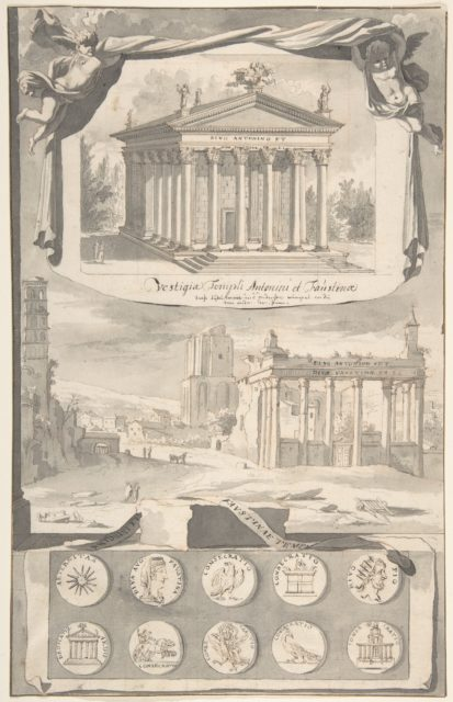 A Reconstruction of the Temple of Antonious and Faustina (above) and a View of the Ruins (below)