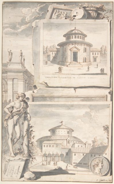 A Reconstruction of the Temple of Divus Claudius in Monte Coelio (above) and a View of the Ruins (below)