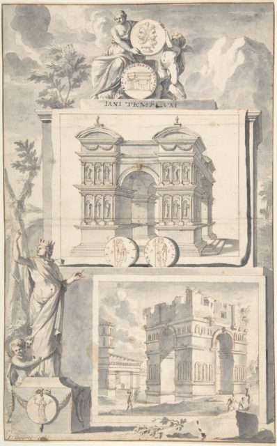A Reconstruction of the Temple of Janus (above) and a View of the Ruins (below)