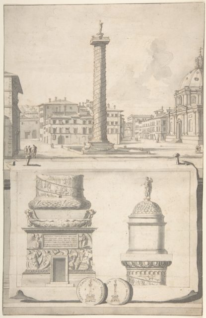 A View of the Column of Trajan (above) with Details (below)