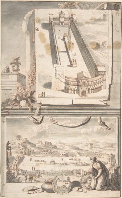Reconstruction of the Circus of Caracalla (above) and a View of the Ruins (below)