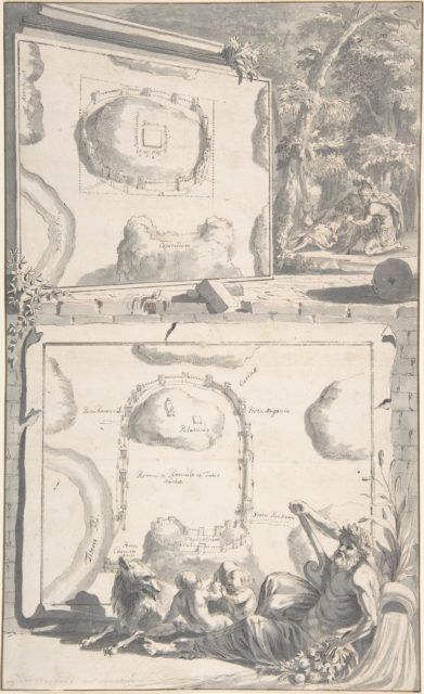 Two Maps of Ancient Rome with a River God and Romulus and Remus
