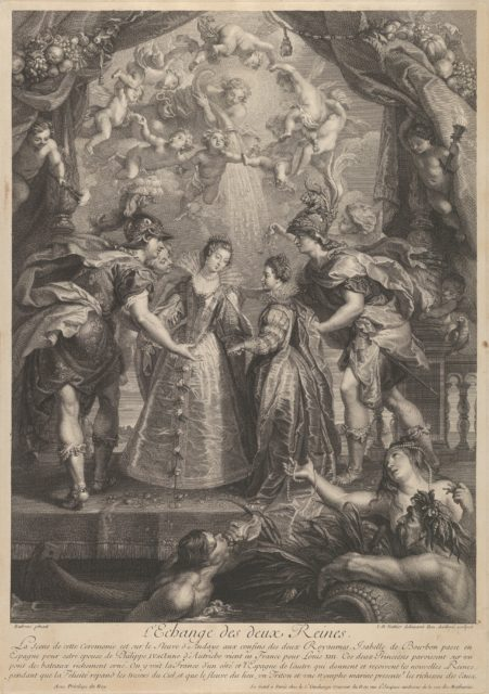 Plate 17: The exchange of the two princesses in Hendaye; allegorical scene with Anne of Austria and Elizabeth of Bourbon standing on a bridge holding hands from Recueil de la Galerie du Luxembourg