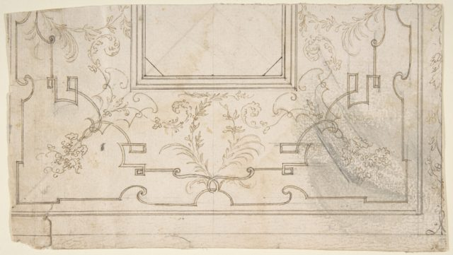 One Half Design for a Ceiling with Floral and Strapwork Motifs (recto); Slight Scribbles (verso).