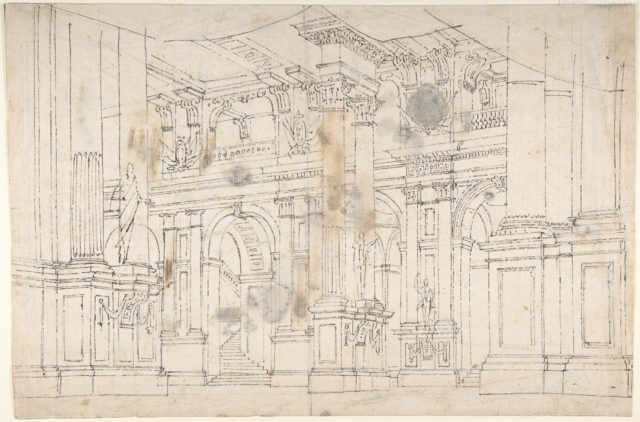 "Outline Drawing: Stage Set Design for a Performance of ""Iphigenia"". Verso: Two Designs for Palace Interiors."